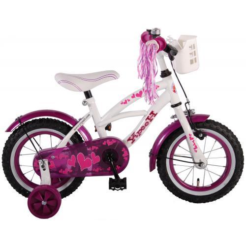 Volare Heart Cruiser Rower dziecięcy - Dziewczęcy - 12 cali - Biały Fioletowy