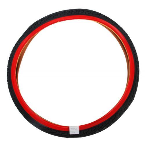 Opona rowerowa 24 cale czarna czerwona