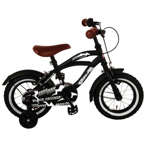 Rower dziecięcy Volare Black Cruiser - Chłopcy - 12 cali - Czarny - dwa hamulce ręczne