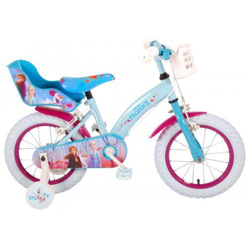 Disney Frozen 2 Rower dziecięcy - Dziewczynki - 14 cali - Niebieski / Fioletowy - 2 Hamulce ręczne