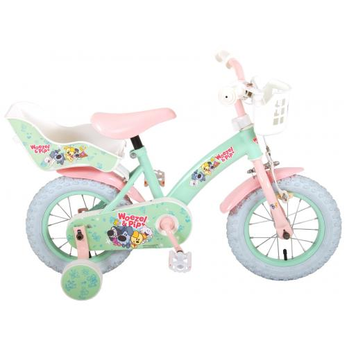 Woezel & Pip Rower dziecięcy - Dziewczęcy - 12 cali - Miętowy / Różowy