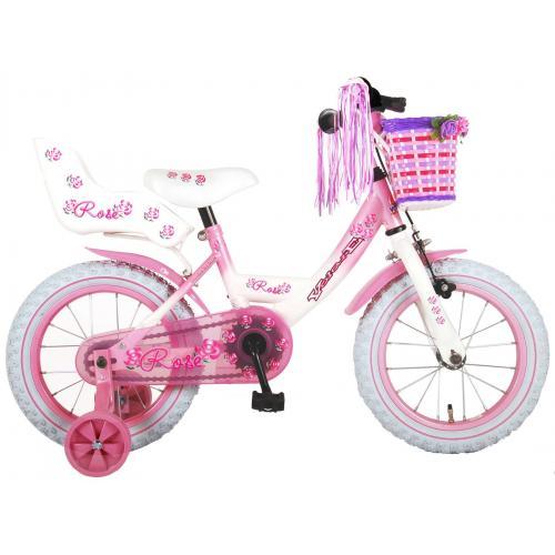 Rower dziecięcy Volare Rose - Dziewczęce - 14 cali - Różowa biel - 95% zmontowane