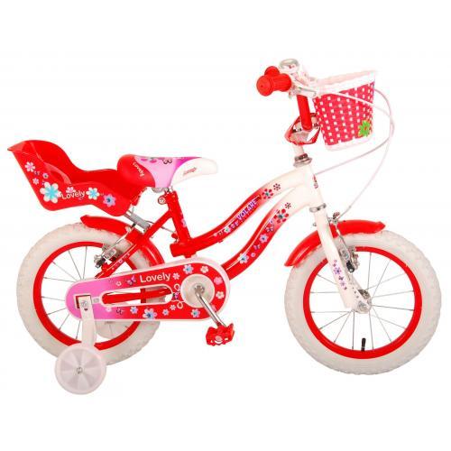 Volare Lovely rower dziecięcy - dziewczyny - 14 cali - czerwony biały - Dwa hamulce ręczne - 95% zmontowany