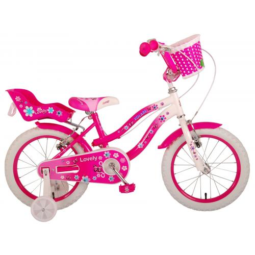 Volare Lovely rower dziecięcy - dziewczyny - 16 cali - różowy biały - Dwa hamulce ręczne - 95% zmontowany