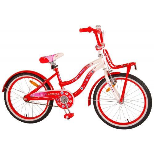 Volare Lovely Rower Dziecięcy - Dziewczyny - 20 cali  - Czerwony Biały - 95% zmontowany
