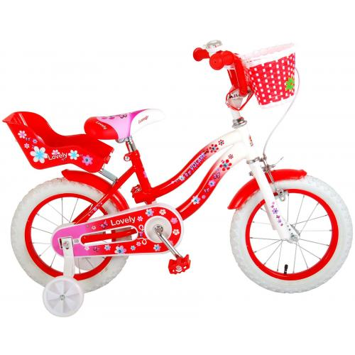 Volare Lovely rower dziecięcy - dziewczyny - 14 cali - czerwony - 95% zmontowany