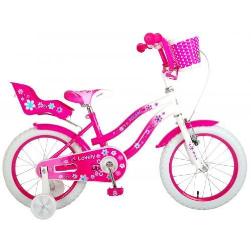Volare Lovely rower dziecięcy - dziewczyny - 16 cali - różowy biały - 95% zmontowany