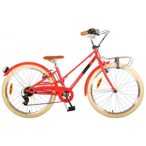 Volare Melody Rower dziecięcy - Dziewczyny - 24 cale - Pastelowa czerwień - 6 prędkości - Prime Collection