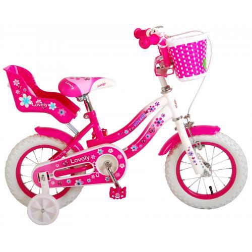 Volare Lovely rower dziecięcy - dziewczyny - 12 cali - różowy biały - 95% zmontowany