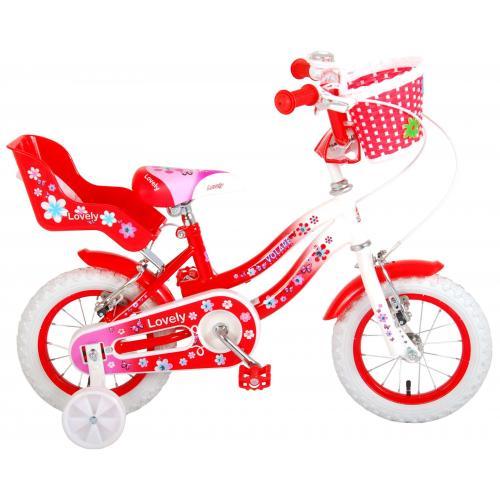 Volare Lovely rower dziecięcy - dziewczyny - 12 cali - czerwony biały - Dwa hamulce ręczne - 95% zmontowany