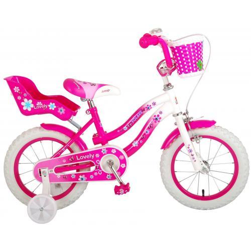 Volare Lovely rower dziecięcy - dziewczyny - 14 cali - różowy biały - 95% zmontowany