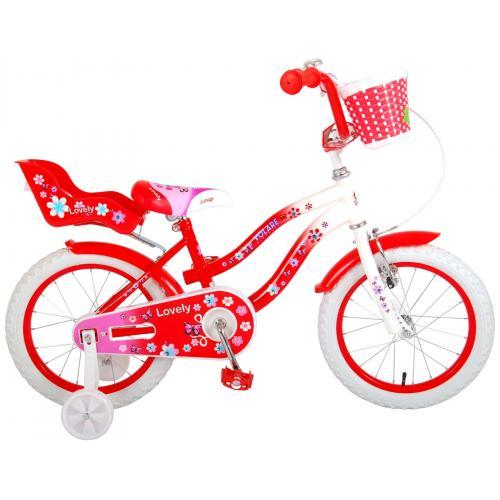 Volare Lovely rower dziecięcy - dziewczyny - 16 cali - czerwony - 95% zmontowany