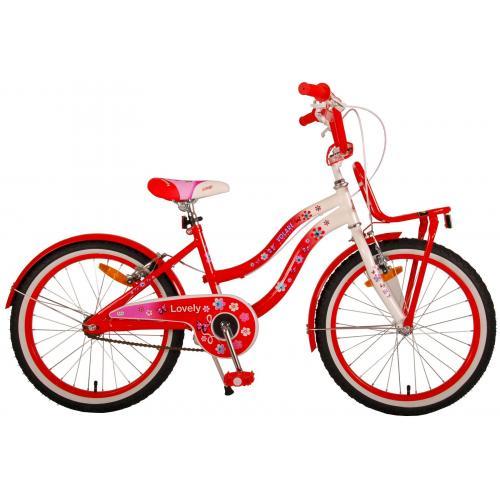 Volare Lovely Rower Dziecięcy - Dziewczyny - 20 cali  - Czerwona Biały - Dwa hamulce ręczne - 95% zmontowany