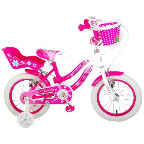 Volare Lovely rower dziecięcy - dziewczyny - 14 cali - różowy biały - Dwa hamulce ręczne - 95% zmontowany