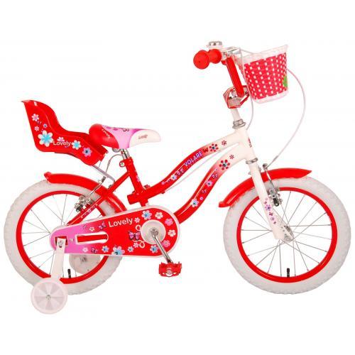 Volare Lovely rower dziecięcy - dziewczyny - 16 cali - czerwony biały - Dwa hamulce ręczne - 95% zmontowany