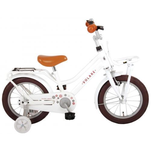 Volare Liberty Rower dziecięcy - Dziewczynki - 14 cali - Biały - 95% zmontowany